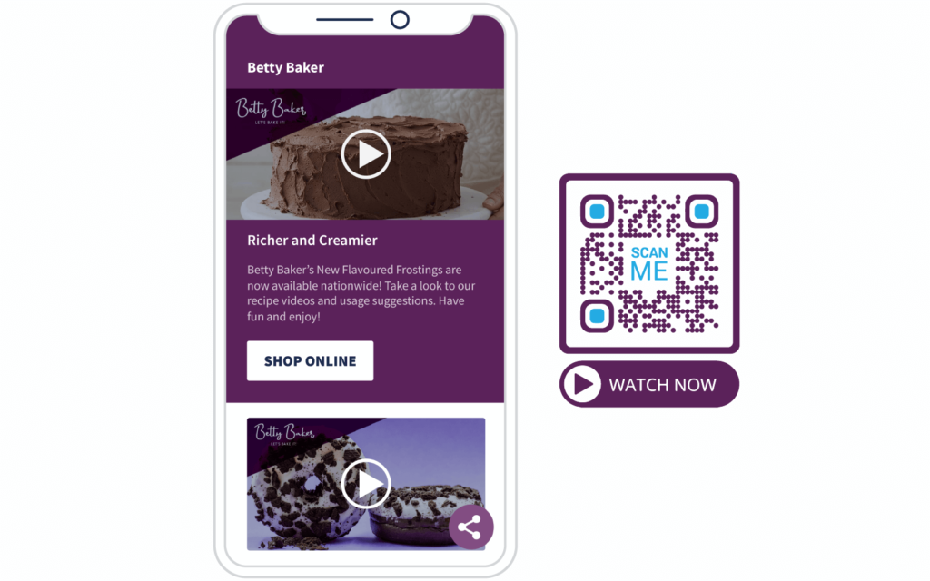 a Video QR Code and the mobile-optimized landing page after scanning