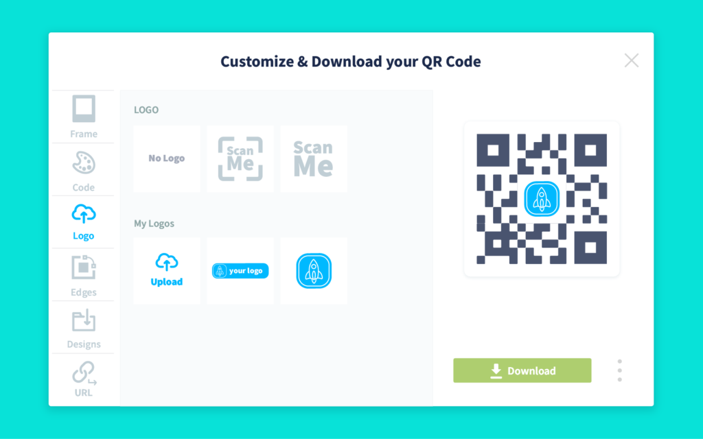 Customization and download screen in a QR Code Generator PRO account