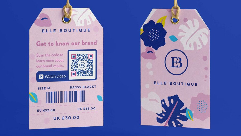 Video QR Code on a fashion product tag prompting people to scan and learn more about the brand values