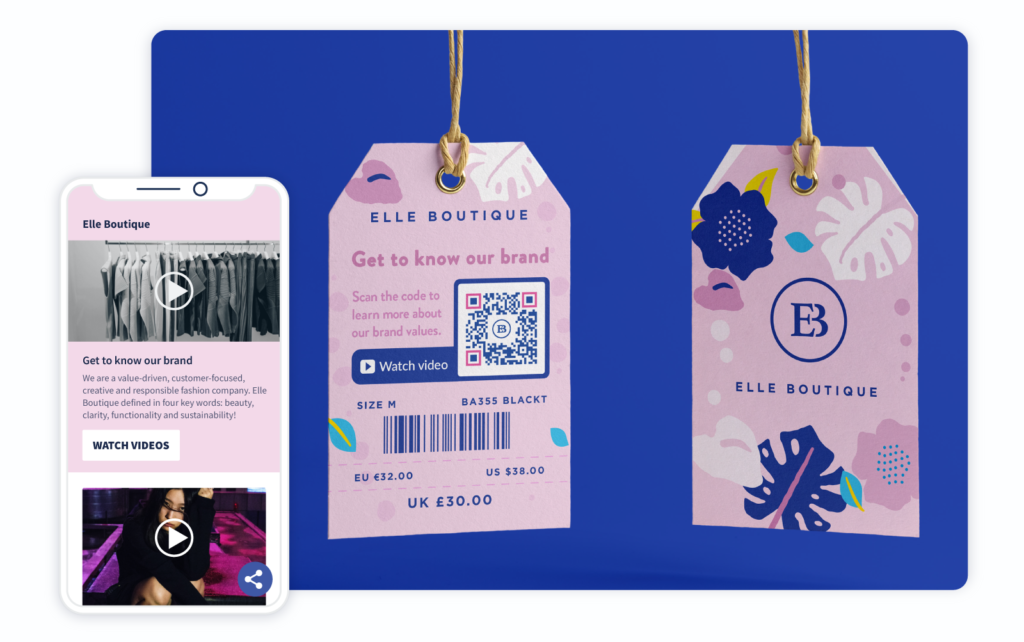 Video QR Code on a clothing price tag prompts people to scan to learn more about the brand values