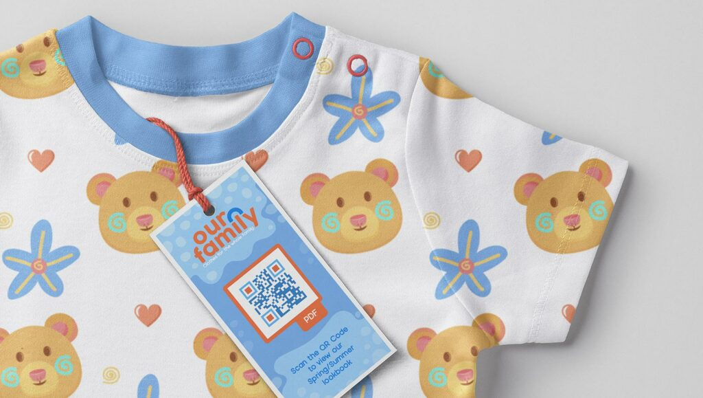 PDF QR Code on a clothing tag prompts people to scan to view their Spring/Summer lookbook