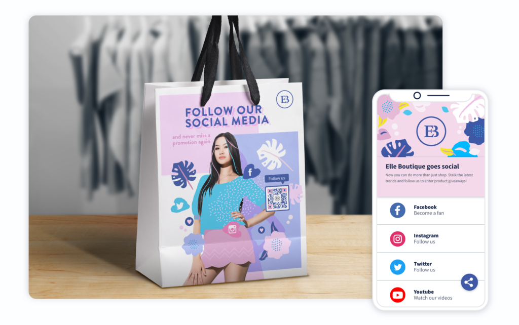 Social Media QR Code on a fashion retailer's sales bags prompting people to scan and follow their social channels