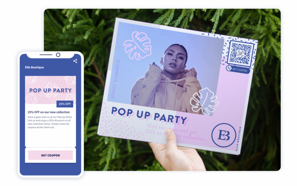 Coupon QR Code on a fashion retailer's invitation prompts recipients to scan and receive 25% off on their new collection