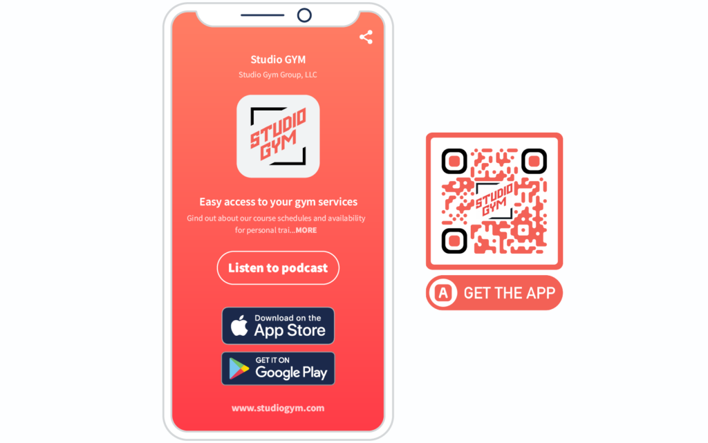 A gym's App QR Code and mobile-optimized landing page prompting people to download the app and listen to their podcast
