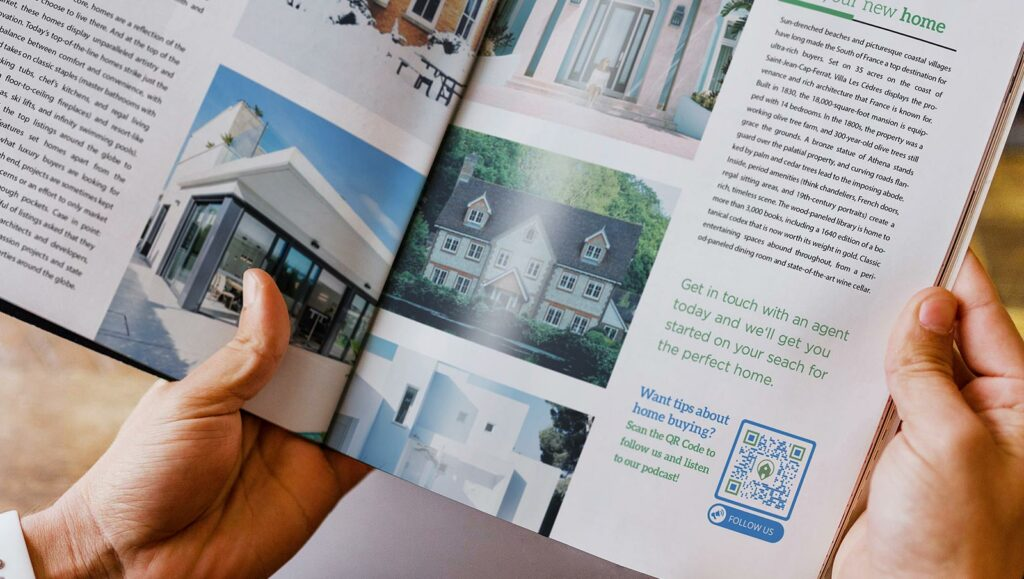 Social Media QR Code in a real estate agency's magazine ad prompting people to scan, follow their social media, and listen to their podcast