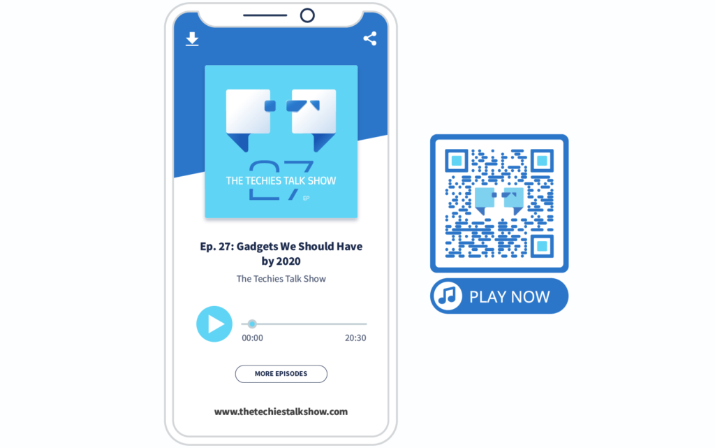 MP3 QR Code and its mobile-optimized landing page for listening to an episode of The Techies Talk Show
