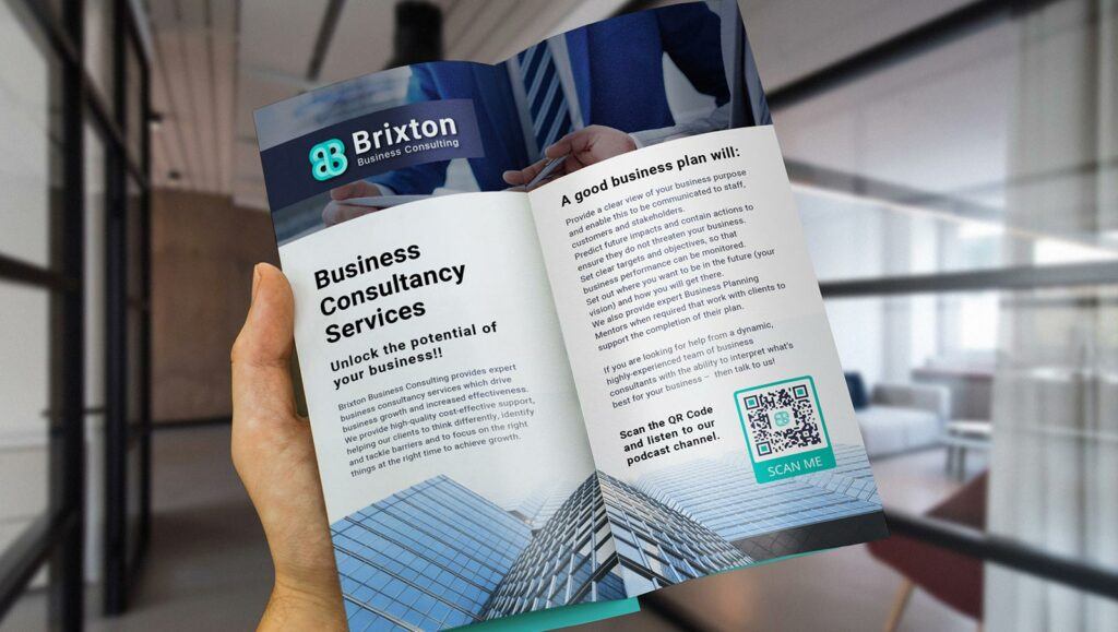 Dynamic URL QR Code in a business consultancy's brochure prompting people to scan and listen to their podcast