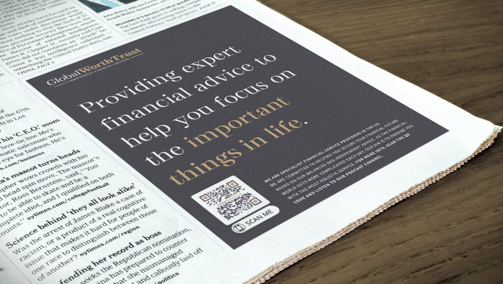 An MP3 QR Code in a financial company's newspaper ad prompting readers to scan and listen to their podcast channel