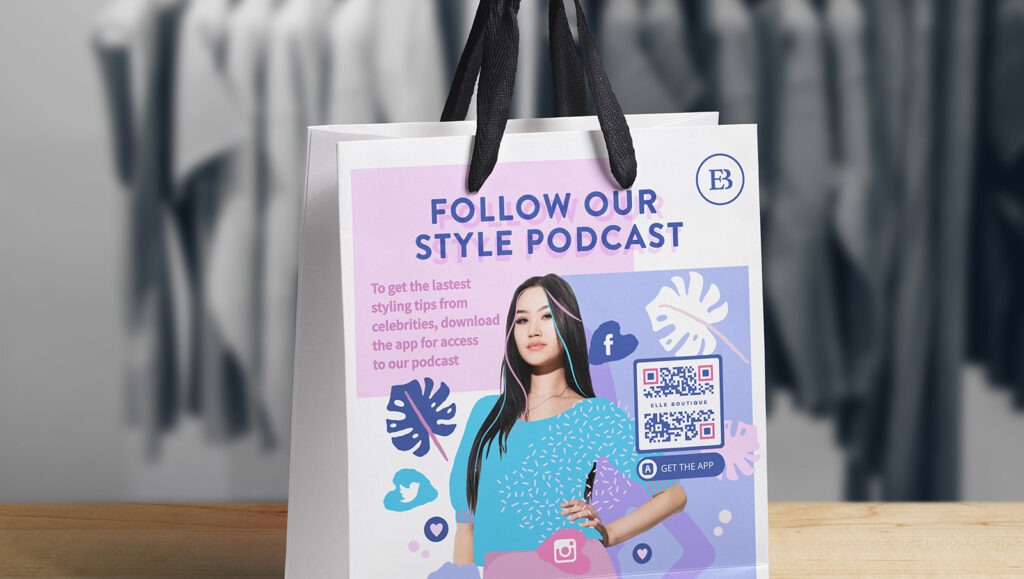 An App QR Code on a fashion retailer's shopping bag prompting people to scan and download their app for access to their podcast
