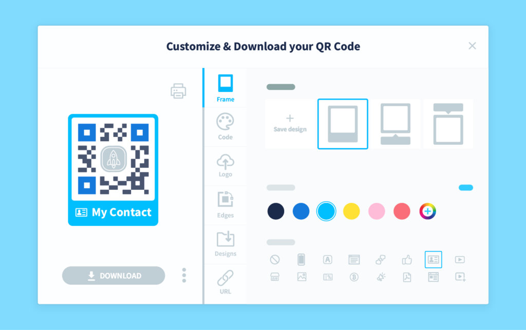 The customization panel in a QR Code Generator Pro account