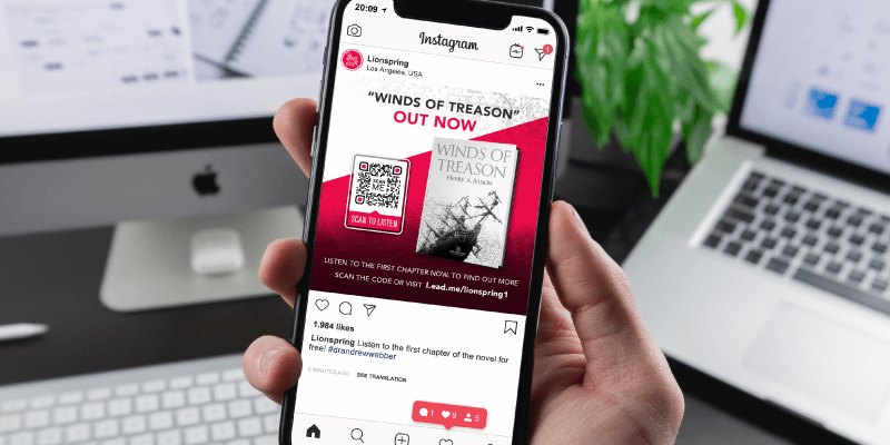 MP3 QR Code on Lionspring Publishing's instagram page post prompts people to scan and listen to the first chapter of a new release