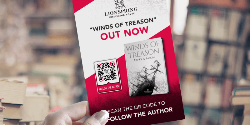 Social Media QR Code on a new book release brochure prompts people to scan and follow the author on social media