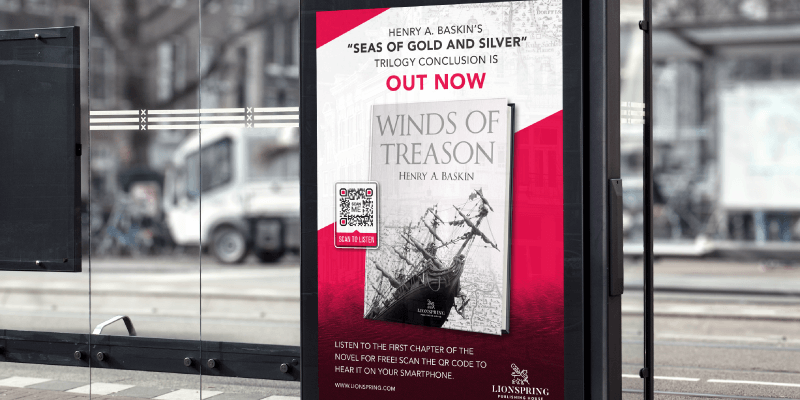 QR Code on a poster ad for a new book release prompts people to scan and listen to the first chapter on their phone