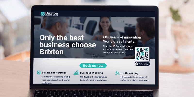 MP3 QR Code on a business consultant's website prompting visitors to scan and listen to their strategic growth methods audiobook
