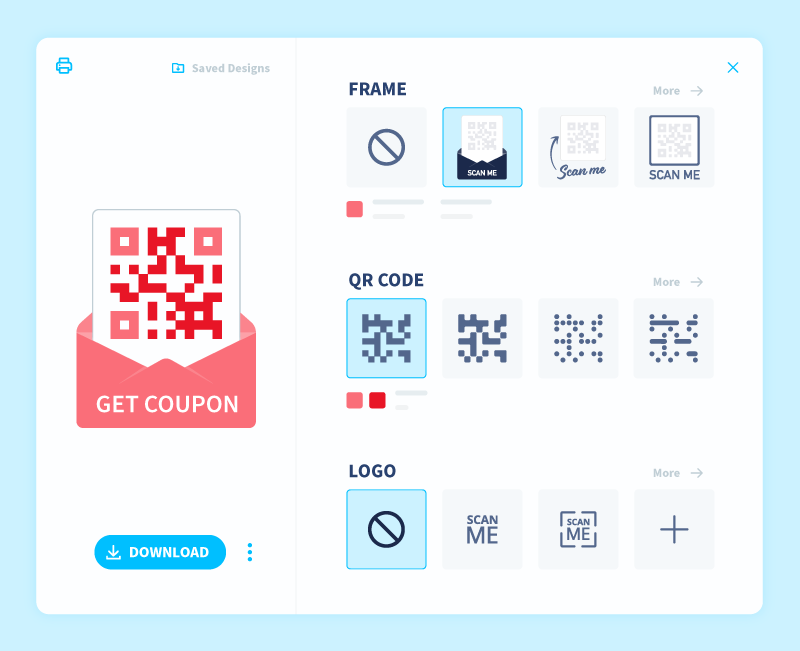 The QR Code customization section in QR Code Generator PRO