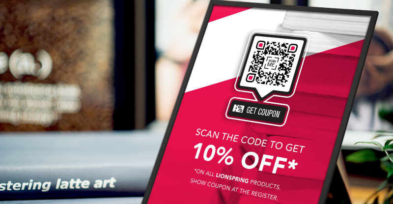 Coupon QR Code on a print material prompting people to scan and receive 10% off all Lionspring products