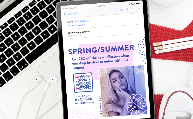 Coupon QR Code in a fashion brand's email prompting recipients to scan or click to redeem a 25% off coupon for their new collection