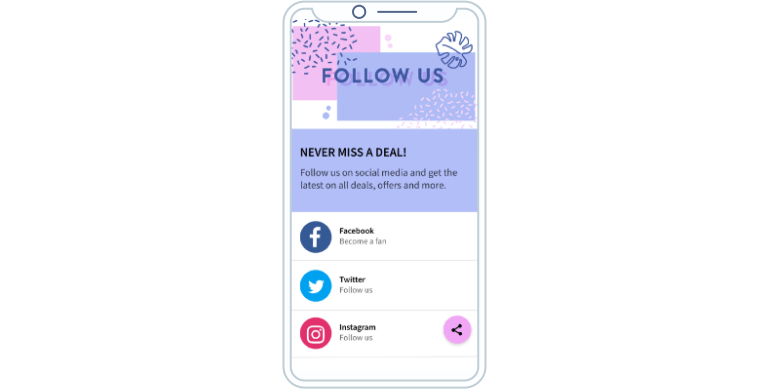 The social media channels a company offers on a Social Media QR Code landing page