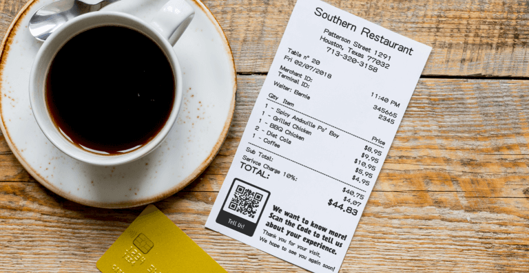 Rating QR Code on a restaurant receipt prompting the patron to scan and rate their experience