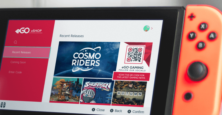 Social Media QR Code on a gaming company's e-shop prompting visitors to scan and follow their social for the latest news