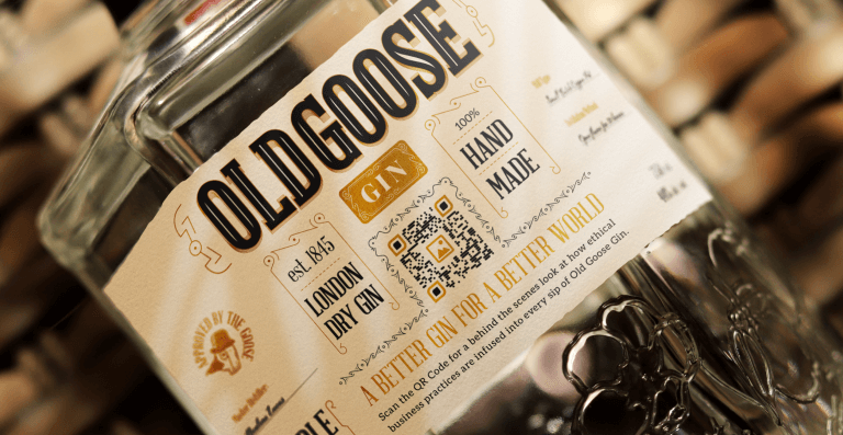 QR Code on a bottle of gin prompts people to scan for behind the scenes business practices