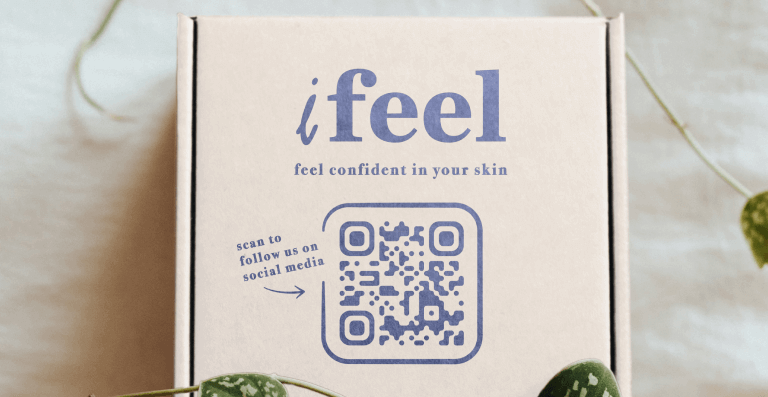 Social Media QR Code on product packing prompting people to scan and follow the company's social media