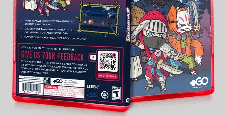 Feedback QR Code on a video game box prompting people to scan and give feedback about the game