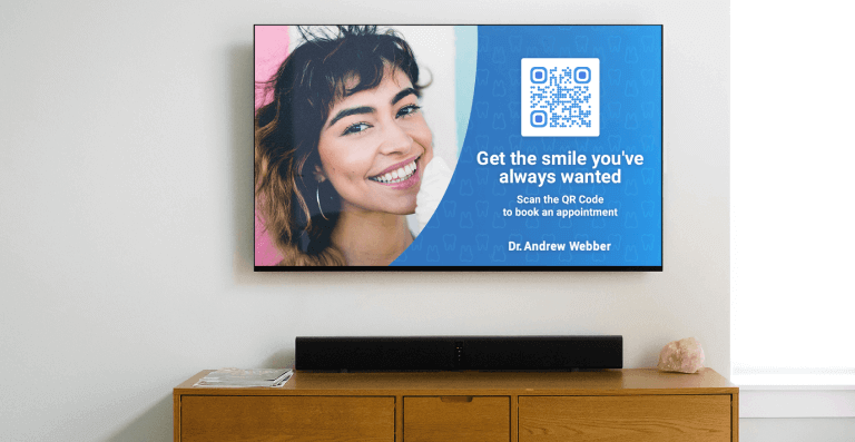 QR Code in a dentist's TV ad prompting people to scan and book an appointment