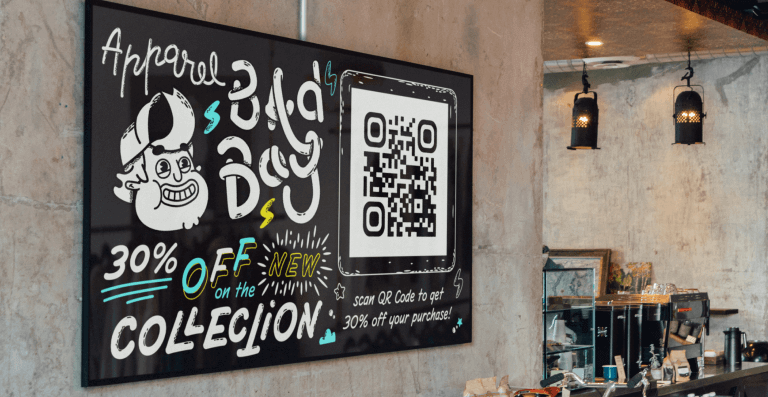 QR Code on a digital sign at a cafe prompting patrons to scan and get 30% off their purchase